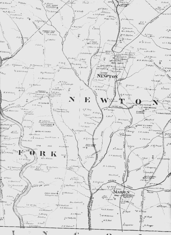 Part of 1886 Map of Catawba County, NC
